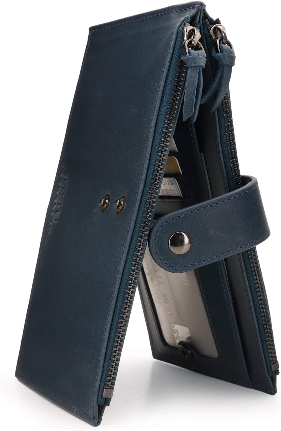 Otto Angelino Genuine Leather 2 Compartment Bifold Wallet Clutch with Phone Compatible Slots - RFID Blocking - Unisex