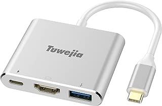 USB Type c HDMI アダプタ Tuwejia usb タイプc 4K 解像度 hdmiポート+USB 3.0高速ポート+USBタイプC高速PD充電ポート 3-in-1 変換 アダプタ UHDコンバータ MacBook Pro/MacBook Air 13inch 2018/iPad Pro 2018/Nintendo Switch ニンテンドースイッチ/USB C デバイス対応 (シルバー/銀色)