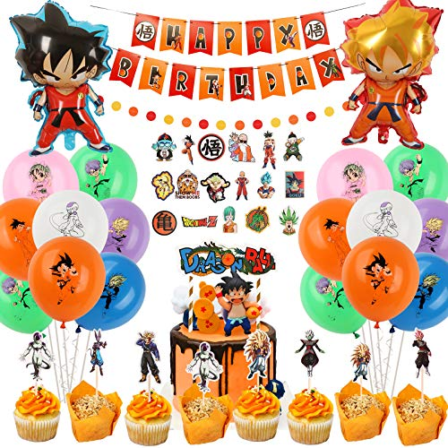 Dragon Ball Z Birthday Party Decorations Balloons Banner Cake Toppers Swirl Stickers Garland Aluminum Foil Balloons Set Anime Dragon Ball Z Party Supplies for Kids and Boys