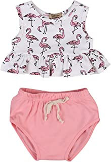 ONE'S Baby Girls Flamingo Outfits Toddlers Ruffle Crop Top with Short Clothing Set