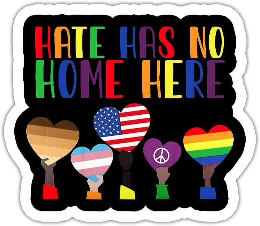 VOTANTA 5 Pcs/Pack - Hate Has No Home Here LGBT Black Peace Sticker Decal Wall Laptop Window Bumper Sticker 3