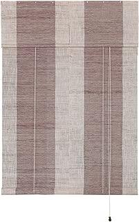 Liveinu Handmade 100% Ramie Linen Window Blinds Roller Shades Curtain Drape Stripe Pattern Brown 27