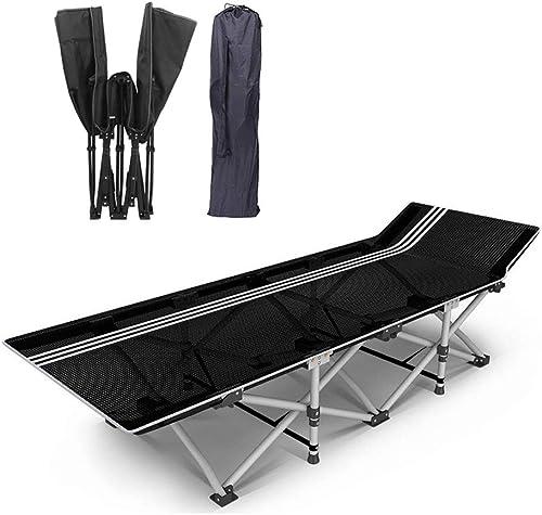 GLLT Lit de Camping Pliant, Lit de Camping Simple Pliable, InsTailletion en Cinq Secondes Chaises Longues en Tissu 1200D Oxford en Tissu Charge 200 kg 190x68x35CM