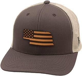 Branded Bills 'Nebraska Patriot' Leather Patch Hat Curved Trucker
