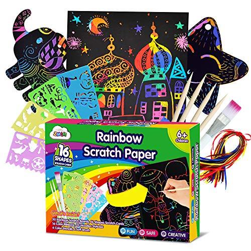 ZMLM Scratch Paper Art Set for Kids - 107 Pcs Rainbow Magic Scratch Off