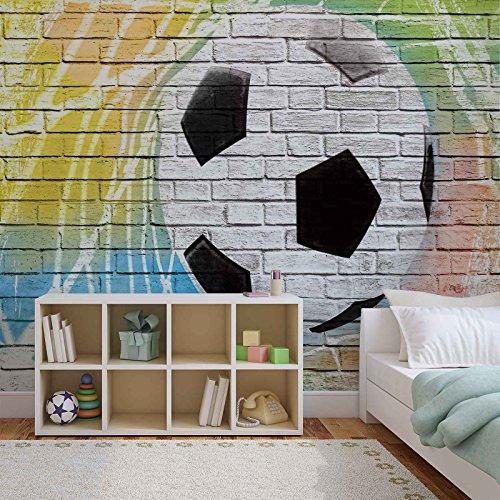 Fußball Wand Steine - Forwall - Fototapete - Tapete - Fotomural - Mural Wandbild - (2021WM) - XXXL - 416cm x 254cm - VLIES (EasyInstall) - 4 Pieces