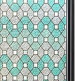 Qualsen Película para Ventana Privacidad Vinilo de Ventana Película para Vidrio Decorativa del Película de Ventana Autoadhesiva Vinilo para Vidrio Anti-UV TM95Y011 (90cm x 200cm)