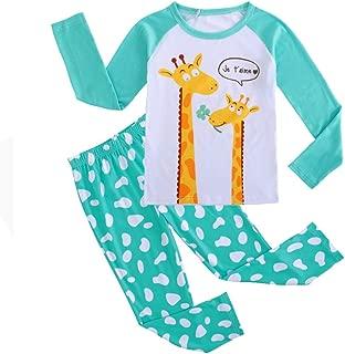 MyFav Girls Giraffe 2 Piece Pajama Set Kids Cotton Sleepwear PJS Size 6-14 Years