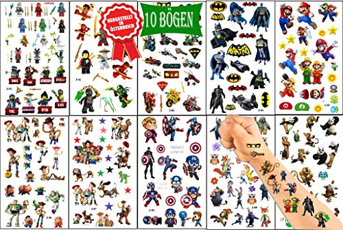 Königsberg Kinder Tattoo Set mit verschiedne Superhelden für Jungen Kinder Aufkleber Weihnacht Geschenk für Jungen und Mädchen Wasserdicht Temporäre Tattoos Set Kinder[10 Blätter]