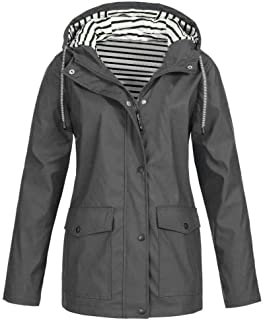 Keepmove Coat for Women Winter Sale, Women Solid Rain Jacket Outdoor Plus Waterproof Hooded Raincoat Windproof