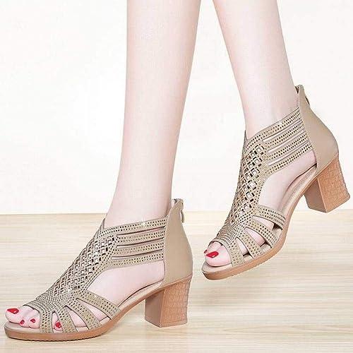 TFTORY Talon épais Sandales Femme Fée Vent été Rome Chaussures à Semelles épaisses Chaussures Femmes, or, 40