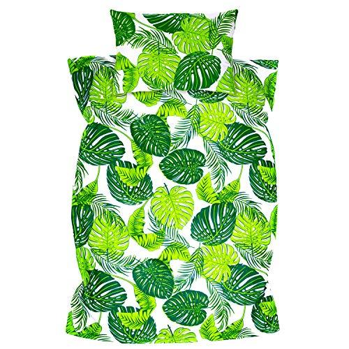 Amilian Kinderbettwäsche 2-teilig 100% Baumwolle Kinder Bettwäsche Babybettwäsche für Baby Bettbezug 100 x 135 cm, Kopfkissenbezug 40 x 60 cm, mit Hotelverschluß Blätter Grün