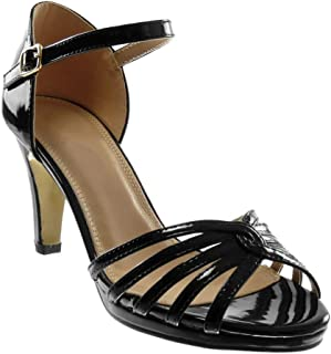 Angkorly - Chaussure Mode Sandale Plateforme Femme lanière Multi-Bride Boucle Talon Haut Bloc
