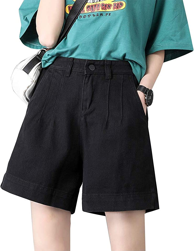 Hixiaohe Women's Casual Washed Denim Shorts High Waist Jean Shorts with Pockets