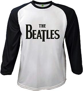 028fd6f7 The Beatles T Shirt Classic Drop T Logo Official Mens Black Baseball Shirt