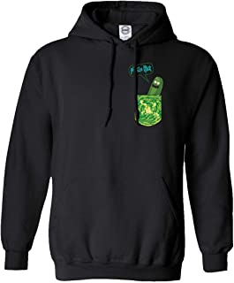 Qasimoff New Graphic Tee Shirt & Morty Pickle Rick in a Pocket Funny Men's Hooded Sweatshirt (Black, Medium)