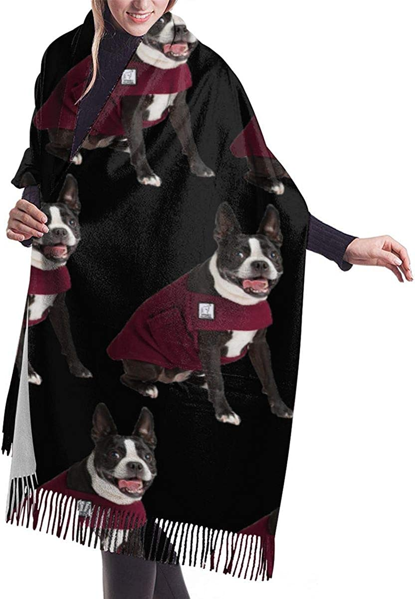 Women Scarf for Winter, Cashmere Feel, Cozy Warm for Winter, Cute Funny Boston Terrier Dog