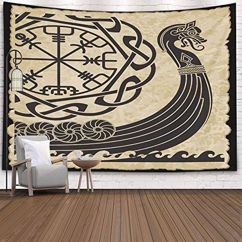 The Wall Tapestry,Capsceoll 60x50 Inches for Home Decor of The Vikings Ancient Scandinavian Pattern And Norse Runes Isolated on White Drakkar Art Design with Pattern Dorm Study