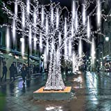 Yztree Upgraded Meteor Shower Rain Lights, 50cm 10 Tubes 540 LED Falling Rain Drop Christmas Light, Waterproof Cascading Lights for Holiday Party Wedding Christmas Tree Decoration White