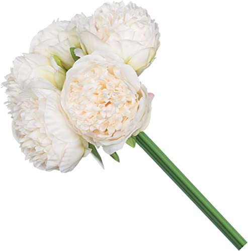 2021 Royal lowest high quality Imports Artificial Peony Flowers, Silk Peonies, Use in Floral Arrangements, Bouquets, Wreaths, Crafts, Wedding, Home Decor - 5 Single Stems - Ivory outlet sale