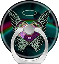 360 Degree Finger Stand Cell Phone Ring Holder Car Mount with Hook for Smartphone-yin yang Angel Wings Halo