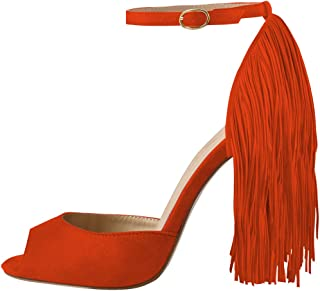 decb73b55a Onlymaker Women's Fringe Decoration Peep Toe High Heel Sandal Ankle Buckle Big  Size for Party