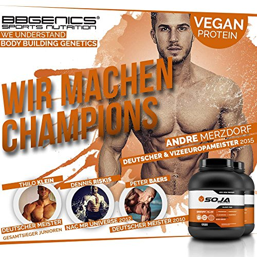 Soja Isolate GOLD – (100% vegan natural Soy Protein, lactosefrei, natuerliches Eiweiss Isolat), by BBGenics Sports Nutrition, 1000g Vanille - 5