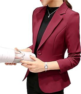 9d07ca1409 Elonglin Blazer Femme Veste de Tailleur Mache Longue Classique Design Coupe  ajustée pour Silhouette élancée Quotidien