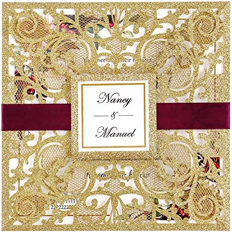 DreamBuilt 6 3 X 6 3 Inch 25PCS Blank Dark Gold Glitter Laser Cut Wedding Invitations With Envelopes product image