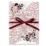 DORISHOME 5 x7.3 inch 50PCS Blank Glitter Rose Gold Laser Cut Wedding Invitations with Envelopes Hollow Rose Pocket With Ribbon Belly Band Wedding Invitation Cards for Wedding Invite