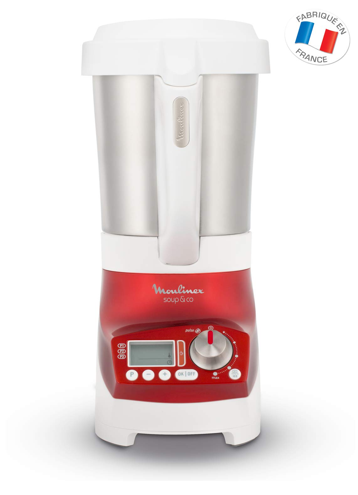 Moulinex LM906110 Batidora de vaso 2.8L 1100W Rojo - Licuadora (2,8 L, 1600 RPM, LCD, Batidora de vaso, Rojo, Acero inoxidable): Amazon.es: Hogar