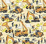 Construction Party Gift Wrapping Paper - Folded Flat 30 x 20 Inch (3 Sheets)