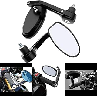 aegarage86® 2 x CUSTOM UNIVERSAL BLACK BAR END MIRRORS FOR CUSTOM MOTORCYCLE CRUISER CHOPPER BOBBER CAFE RACER CLUBMAN BUELL TRIUMPH APRILIA SHIVER 750 MOTO GUZZI