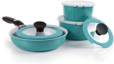 Neoflam 52102 Midas PLUS 9-piece Ceramic Nonstick Cookware Set with Detachable Handle, Emerald Green, Space-Saving
