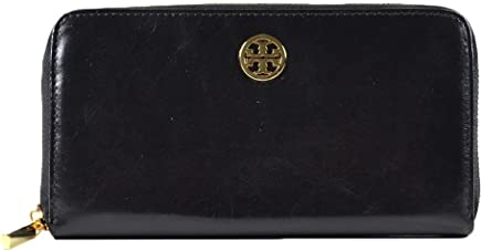 afd3cf254ab65 Tory Burch Dena Crinkle Leather Zip Around Long Wallet Black