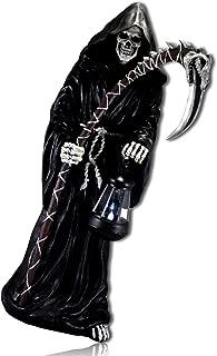 mySimpleProduct.Shop Gothic Half Bringer of Death Grim Reaper Skeleton Wrapped Handle Scythe Holding Solar LED Lantern Underworld Hades Statue Figurine Sculpture + Certificate