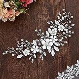 Vakkery - Diadema de flores para boda con cristales plateados, accesorios para el cabello para mujeres y niñas