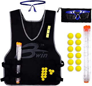 DILIMI Kids Tactical Vest Kit with 12 Darts,12-Darts Quick Reload Clip,Protective Glasses for Nerf Rival Apollo Zeus Khaos Atlas Blasters Series