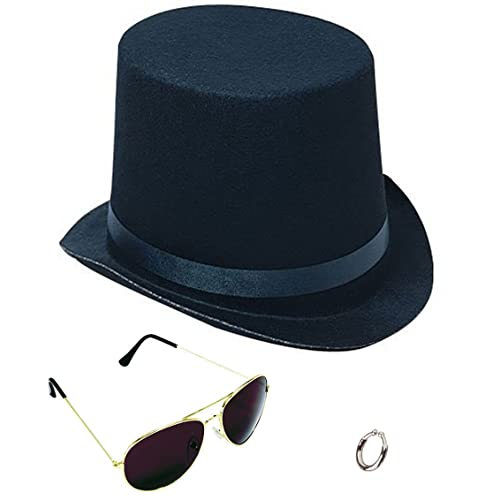 c7f65b725def8d Lip Ring Top Hat and Aviator Sunglasses The Slash Bundle Costume  Accessories Black/Silver