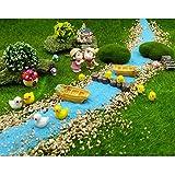 EMiEN juego de 28 piezas de decoración de casa de muñecas de jardín de hadas para relajación, estilo de relajación en miniatura, para bricolaje, arena azul, pbarco, árbol, escaleras, seta, piso,muelle