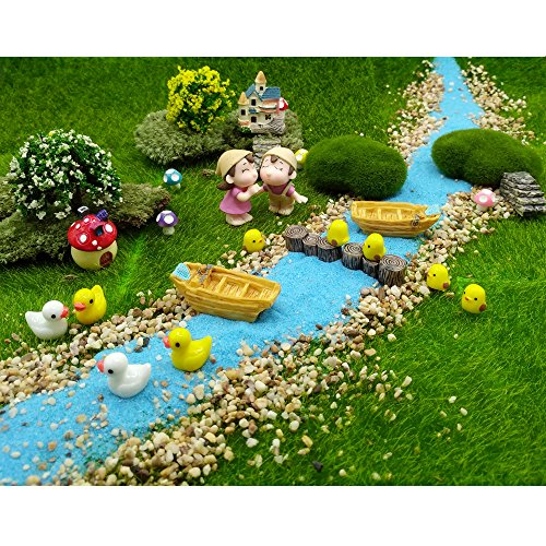 EMiEN 28 PCS Village Vacation Relaxation Style Miniature Ornament Kits Set for DIY Fairy Garden Dollhouse Decoration, Blue Sand, Scree, Boy Girl,Boat,Chick,Duck,Tree,Stairs, Mushroom, Villa,Stump Pier