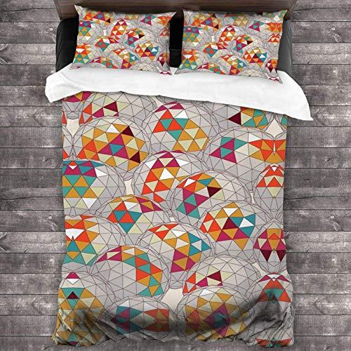 FETEAM Atmungsaktive Reißverschluss Bettwäsche Set Bunte Geometrie 3pcs Mikrofaser Verstärkt Bed Linen für Schlafzimmer Gästezimmer und Hotel
