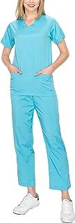 YourStyle USA Medical Uniform Set – Women's Short Sleeve V-Neck Top Shirts Ankle Length Pants Stretch Pockets Nursing