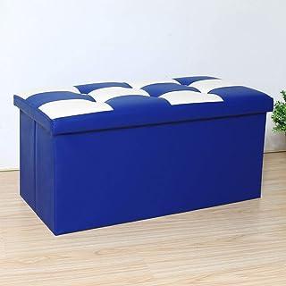 Funlea Pouf de Rangement Pliable Nordique carré Cube Moderne en PU en Cuir PU avec Repose-Pieds Grand Tabouret rectangulai...
