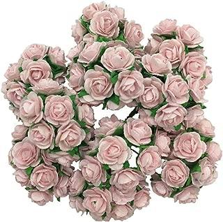 100 Sweet Pink 15mm Artificial Mulberry Paper Rose Flower Wedding Scrapbook DIY Craft Scrapbook Scrapbooking Bouquet Craft Stem Handmade Rose Valentines Anniversary Embellishment by WADSUWAN SHOP.