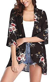 KOLCY Damen Chiffon Kimono Cardigan Strandponcho Blumen Print 3/4 Arm Sommer Shawl Bluse Beachwear Bikini Cover up Leichte Luftig Strand Jacke Oberteil S-2XL