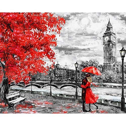 FUWANG Dibujar con números Marco de Fotos Digital Pintura de DIY Londres...
