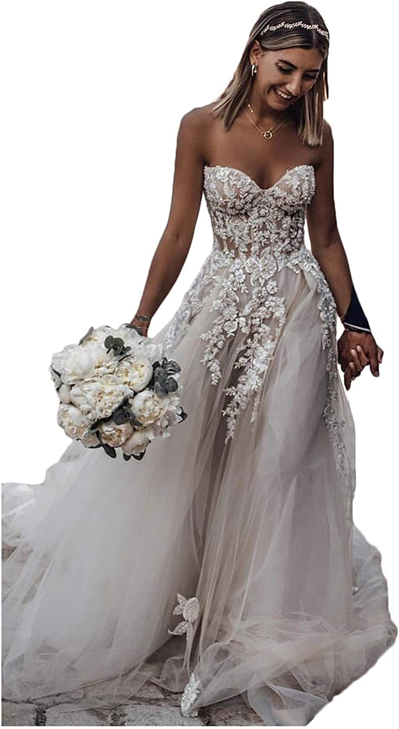 Annxpink Women's ALine Sweetheart Neck Beading Appliques Tulle Wedding Dress Bridal Gown