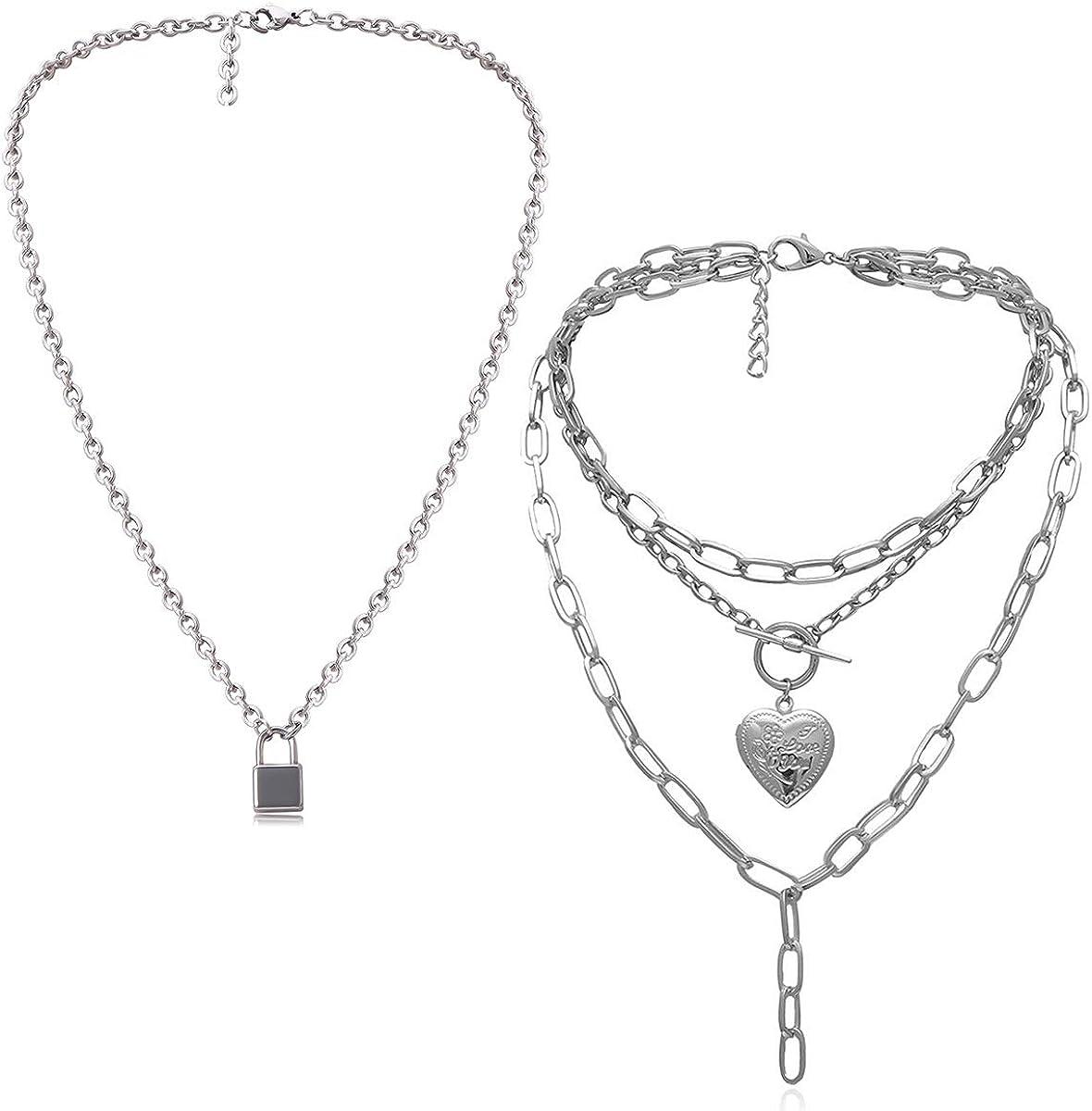 Ingemark Statement Cool Punk Chunky Chain Toggle Necklace for Women Girls Heart Shaped Photo Locket Pendant Layered Pearl Choker Necklace (Style 5 Heart Lock Pendant)