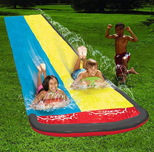 Great Price! XLBHSH Lawn Water Slides Watersports Backyard Waterslide Garden Racing Double Water Sli...